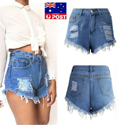 AU Vintage Womens Denim High Waisted Shorts Jeans  6 8 10 12 14 16 UK Fashion