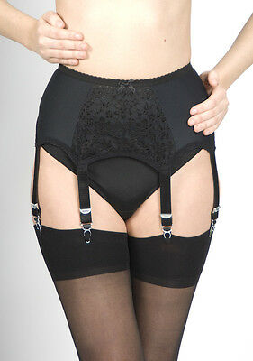 6 Strap Lace Front Retro/Vintage Style Suspender Belts Blk/Wht Small to X Large