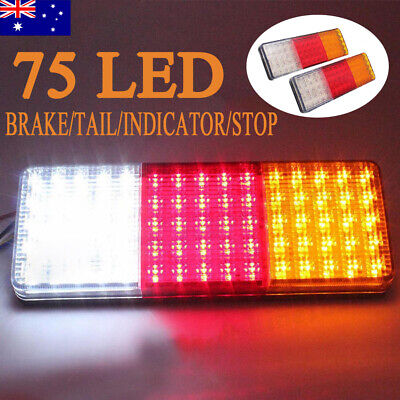 2X 75 LED Truck Tail Light Indicator Stop Brake Reverse Rectangle For Trailers