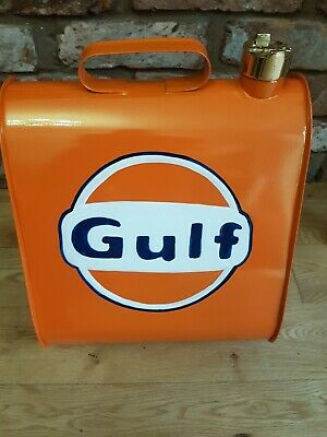 "Vintage STYLE HAND MADE METAL OIL GAS CAN ""GULF"" RETRO COLLECTABLE"