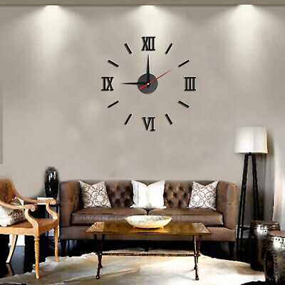 Luxury 3D DIY Wall Clock Roman Numeral Mirror Sticker Home Living Room Art UK