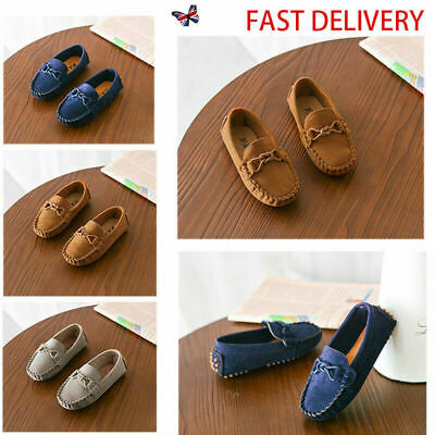 Boys Girls Kids Slip On Flat Loafers Moccasins Leather Boat Casual Shoes Size UK
