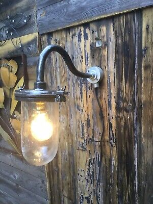 VINTAGE SWAN NECK OUTDOOR LIGHT Lamp Refurbished And Re Wired Led Bulb Free P&P