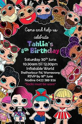 PERSONALISED LOL SURPRISE DOLL Birthday Invitation Invite Party