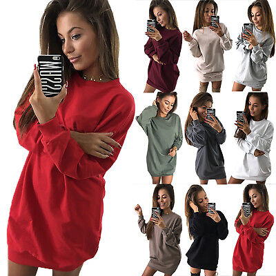 Womens Sweatshirts Hoodies Jumper Long Sleeve Crew Neck Sweater Tops Tunic Dress