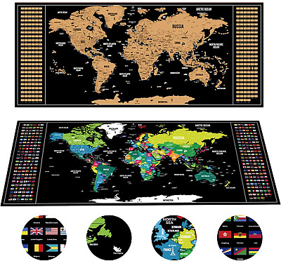 Large Scratch Off World Map Wall Poster Personalized Travel Vacation Log Flags