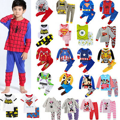 Cartoon Sleepwear Baby Kids Boys Girls Nightwear Pyjamas Set Outfit Pajamas Pj's