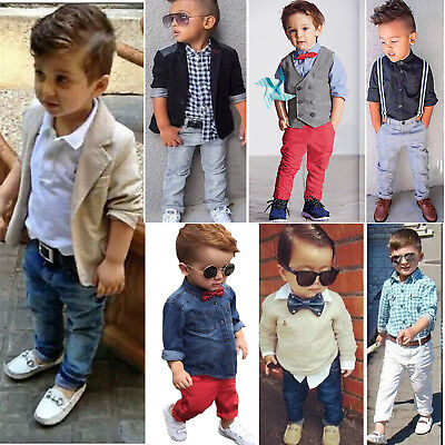 Kids Boys Gentleman Clothes Outfits Set Jacket Coat Tops T-Shirt Pants Trousers