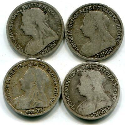 Four Solid Sterling Silver Queen Victoria Retro Threepences 1894 1895 1896 1897