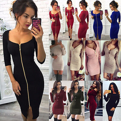 Women Zip Lace Up Short Mini Jumper Dress Bodycon Knitted Sweater Party Clubwear