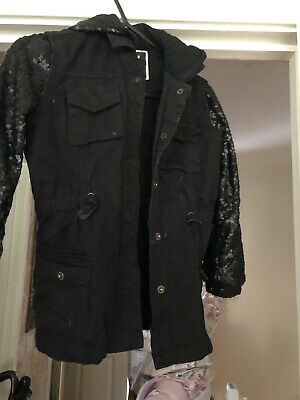 Girls River Island Hooded Black Sequin Jacket Age 6