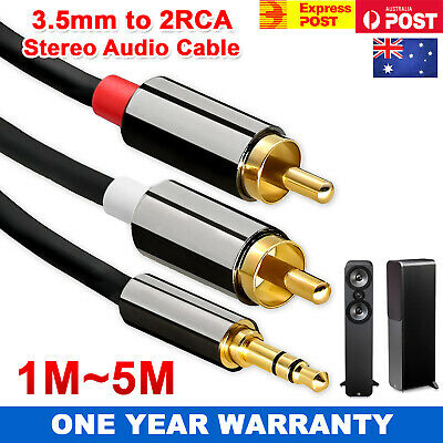 Premium Stereo Audio 3.5mm AUX Jack To  2 RCA Cable M/M Y Gold Plated 1M - 5M