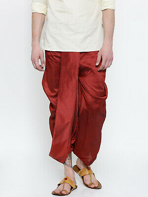 Men's Ethnic Dhoti Indian Bollywood Wedding Party Maroon Rayon Traditional Wear