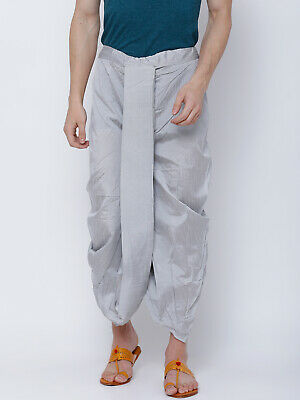 Indian Mens Free Size Dhoti Bollywood Wedding Dress Silver Polyester Ethnic Wear