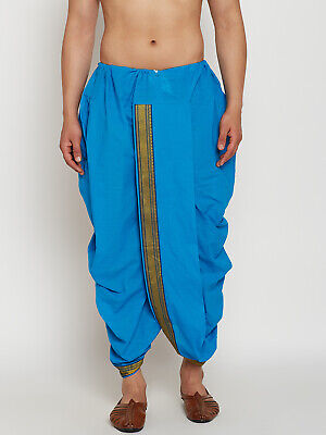 Men's Dhoti Indian Bollywood Ethnic Traditional Dress Wedding Party Blue Cotton
