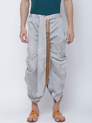 Men's Dhoti Indian Bollywood Wedding Dress Silver Polyester Traditional Wear