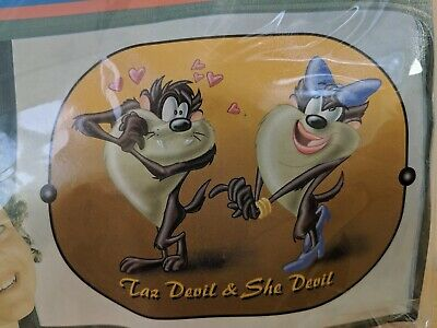Car Sun Shade x 2 Side Window Looney Tunes Taz Devil & She Devil New in Pack