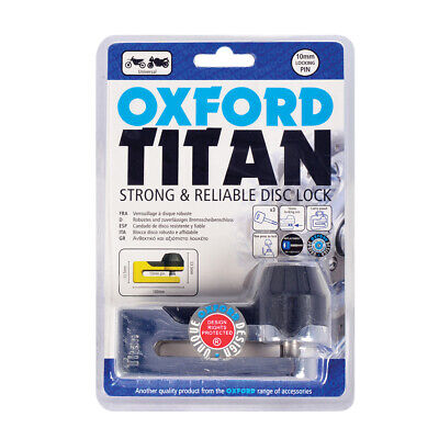 Of50 Oxford Titan Disc Lock Rrp £26.99 Security  10Mm Pin Anti Theft Thatcham