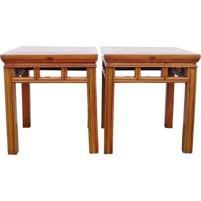 Pair of Vintage Chinese Elm Square Stools / Side Tables c. 1950