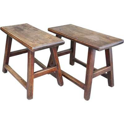Pair of Antique Chinese Qing  Provincial Elm Benches c. 1900