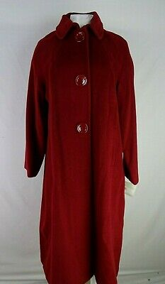 Liz Claiborne Petite Silk Wool Blend Coat Berry Red