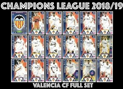 Match Attax Champions League 2018/19 Full 18 Card Team Set Valencia Cf