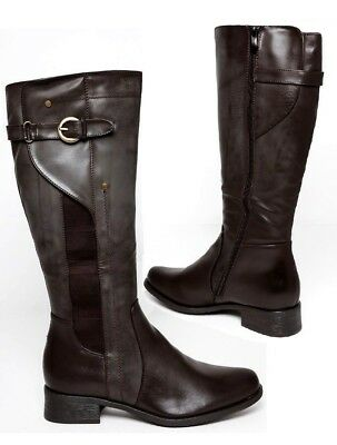 0cc83ecca01fe4 Ladies Womens Brown Faux Leather Mid Calf Under Knee Casual Boots Shoes Size