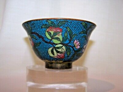 9 PEACHES ON TREE -18TH QING  Chinese CLOISONNE Enamel  Bronze Handleless Cup