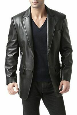 Mens Leather Blazer Black 100% REAL LAMBSKIN Tailored Soft Coat Size S M L XL