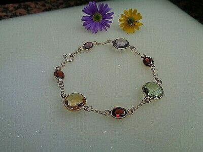Gold Armband mit Amethyst, Citrin, Granat, 585 Gold Filled