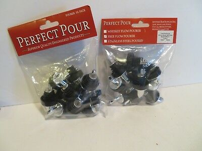 (Pack of 12) CHROME/BLACK Liquor Pourer FREE FLOW Spouts by ANYTIME BAR LOT 2