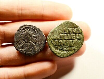 D: 26-30mm Ancient Byzantine Bronze Coin - LOT OF 2