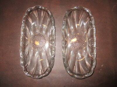 Mw.4G: Antique 2 (Pair) Antique Glass Etched Trays Plates Dishes - Identical