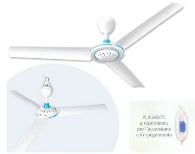 Ventilatore A Soffitto Portatile Con 3 Pale Gancio Interruttore On Off 20W Vento