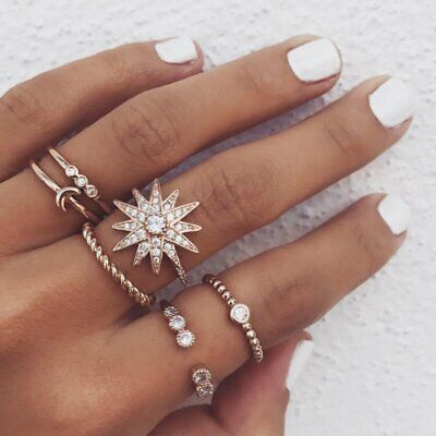 6pcs/lot Moon Star Crystal Knuckle Rings Women Ladies Elegant Party Jewelry New