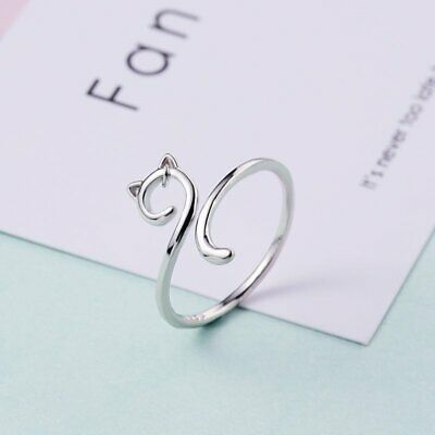Women 925 Hollow Cat Animal Ring Open Adjustable Rings Charm Jewelry Gift Party