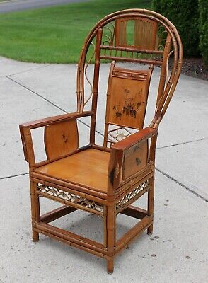 ANTIQUE EARLY 20th CENT. CHINESE REAL BAMBOO BENTWOOD THRONE CHAIR HAND PAINTED