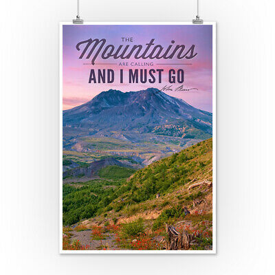 Mt St Helens WA Mts Calling I Must Go LP Photo (Posters, Wood & Metal Signs)