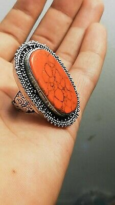 HUGE chunky Red Turquoise Stone Ring GYPSY Boho ISLAMIC Persian AFGHAN TRIBAL