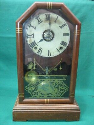 Antique Mantel Clock with Seth Thomas 5 7/8 Lyre Movement Works Great