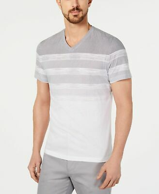 cf48b63e0449 ALFANI STRIPED V-NECK T-shirt Grey Mens Medium New - $3.99 | PicClick