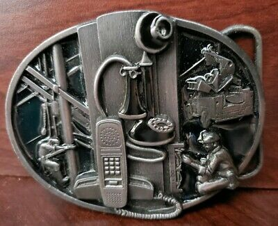 Pewter Belt Buckle-Siskiyou-1988 dedicated to-telephone/ communications workers