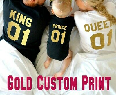 King Queen Prince shirts Gold Custom Couple Family matching Tshirt Street Punk