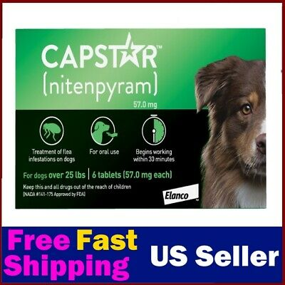 [New Version] Capstar Flea Treatment Tablets For Dogs over 25 lbs, 6 count