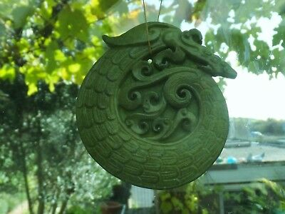 Antique Chinese Green Jade Dragon Medallion Pendant Hand Carved Guardian