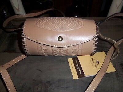 Patricia Nash~Amatrice~Mini Roll Crossbody Leather Bag~Tooled Sand~NWT