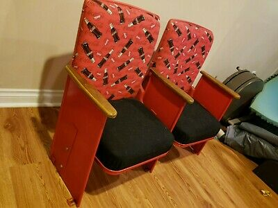 Vintage Theater Seats Seating  Movie Seats, Refurbished with Coca Cola fabric