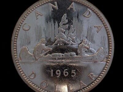 1965 Canada 'Blunt 5 - Small Beads' Silver Dollar Coin - Rare!!!
