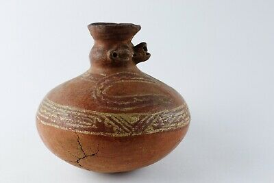 Pre Columbian Moche Jaguar Vessel Jar Slip Decorated Redware Peru 100-700 Ad