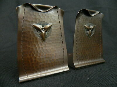 Pair of Roycroft Arts & Crafts Hand Hammered Copper Bookends c 1910-1915